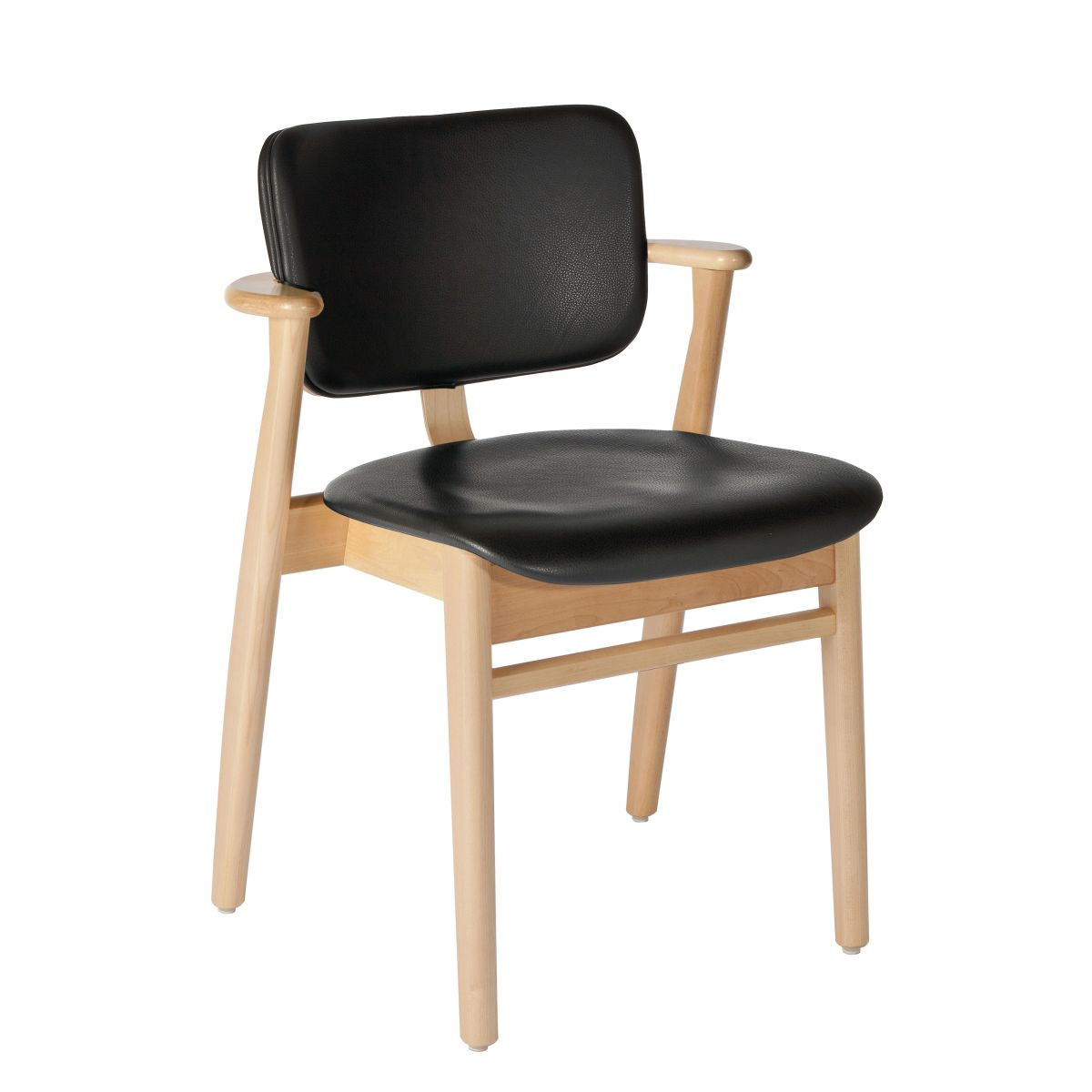 Domus Chair legs clear laquered birch_seat back leather black