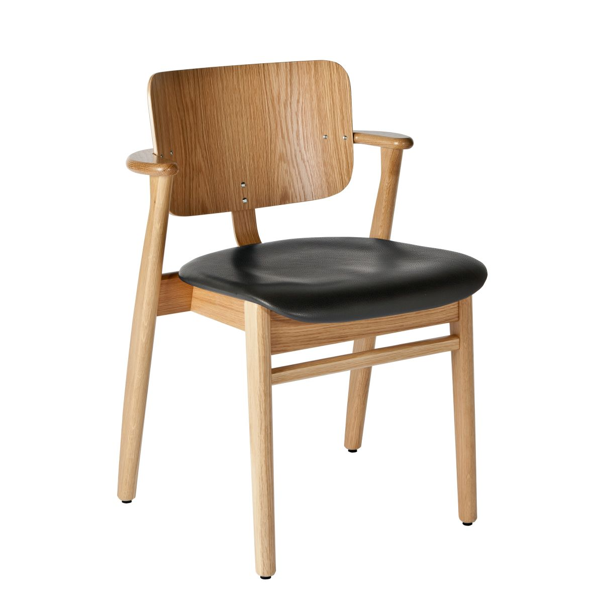 Domus Chair legs clear laquered oak_seat leather black
