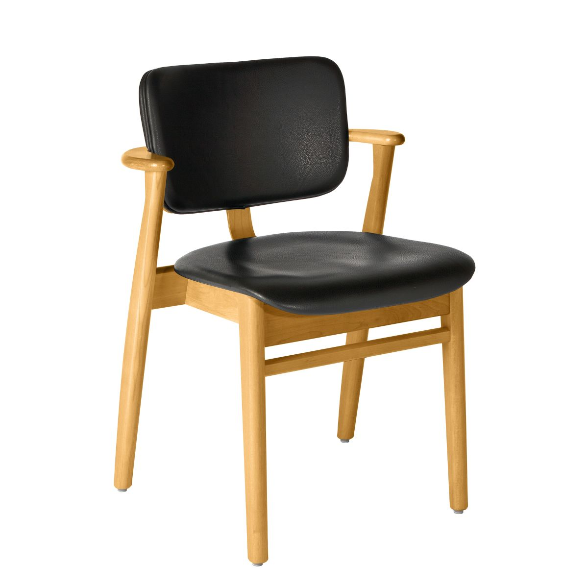 Domus Chair legs honey stained birch_seat back leather black