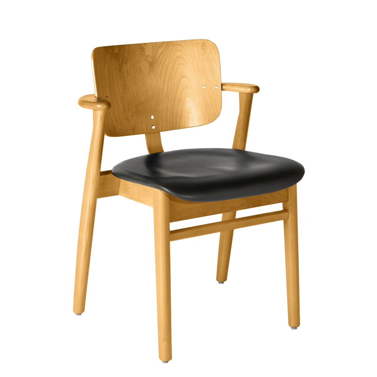 Domus Chair legs honey stained birch_seat leather black