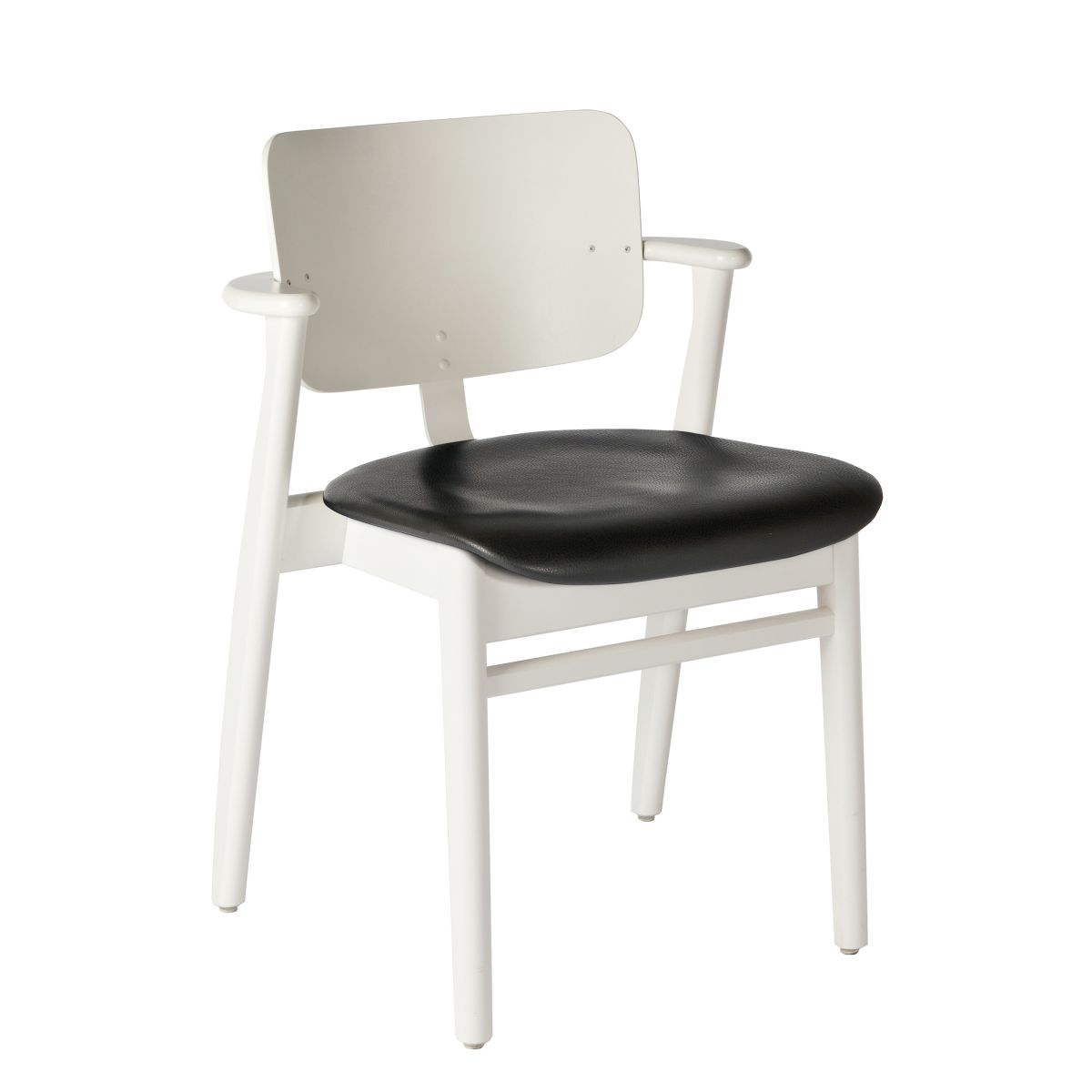 Domus Chair legs white laquered birch_seat leather black