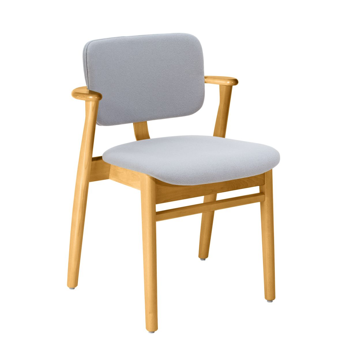 Domus Chair legs honey stained birch_seat back fabric grey