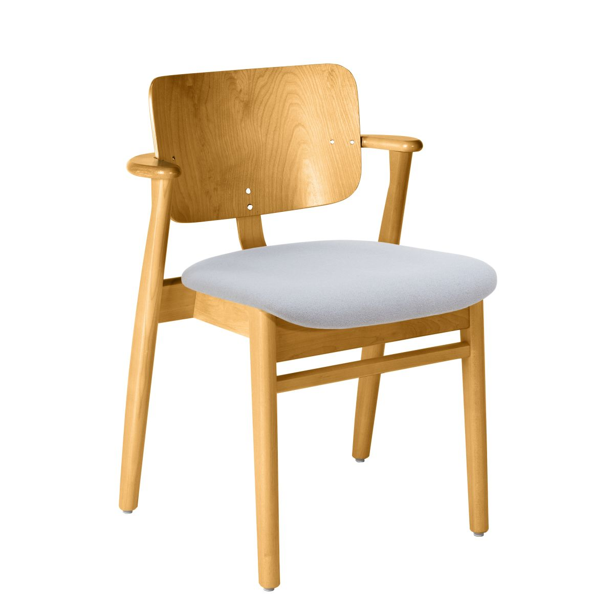 Domus Chair legs honey stained birch_seat fabric grey