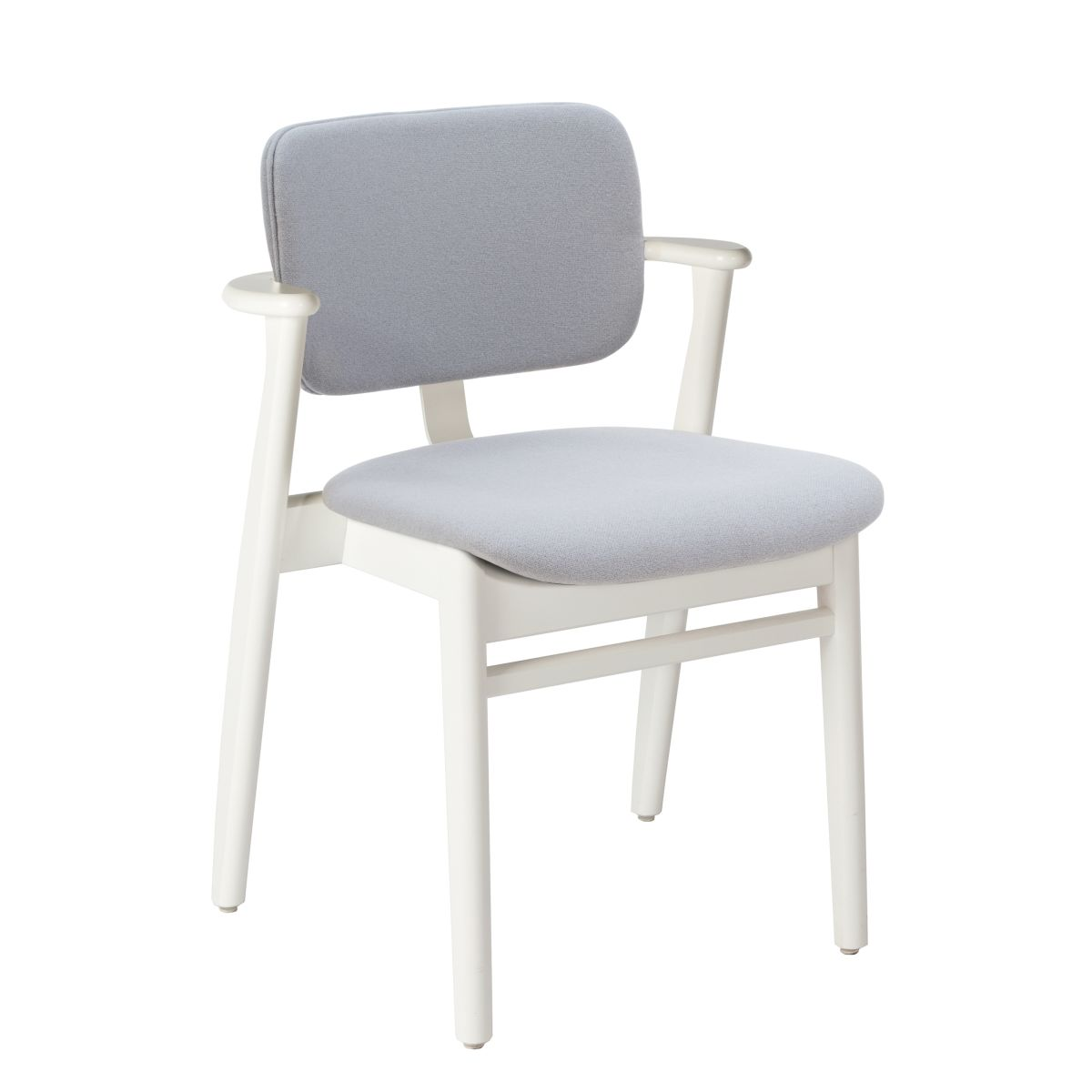 Domus Chair legs white laquered birch_seat back fabric grey