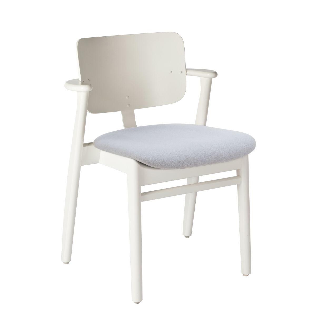 Domus Chair legs white laquered birch_seat fabric grey