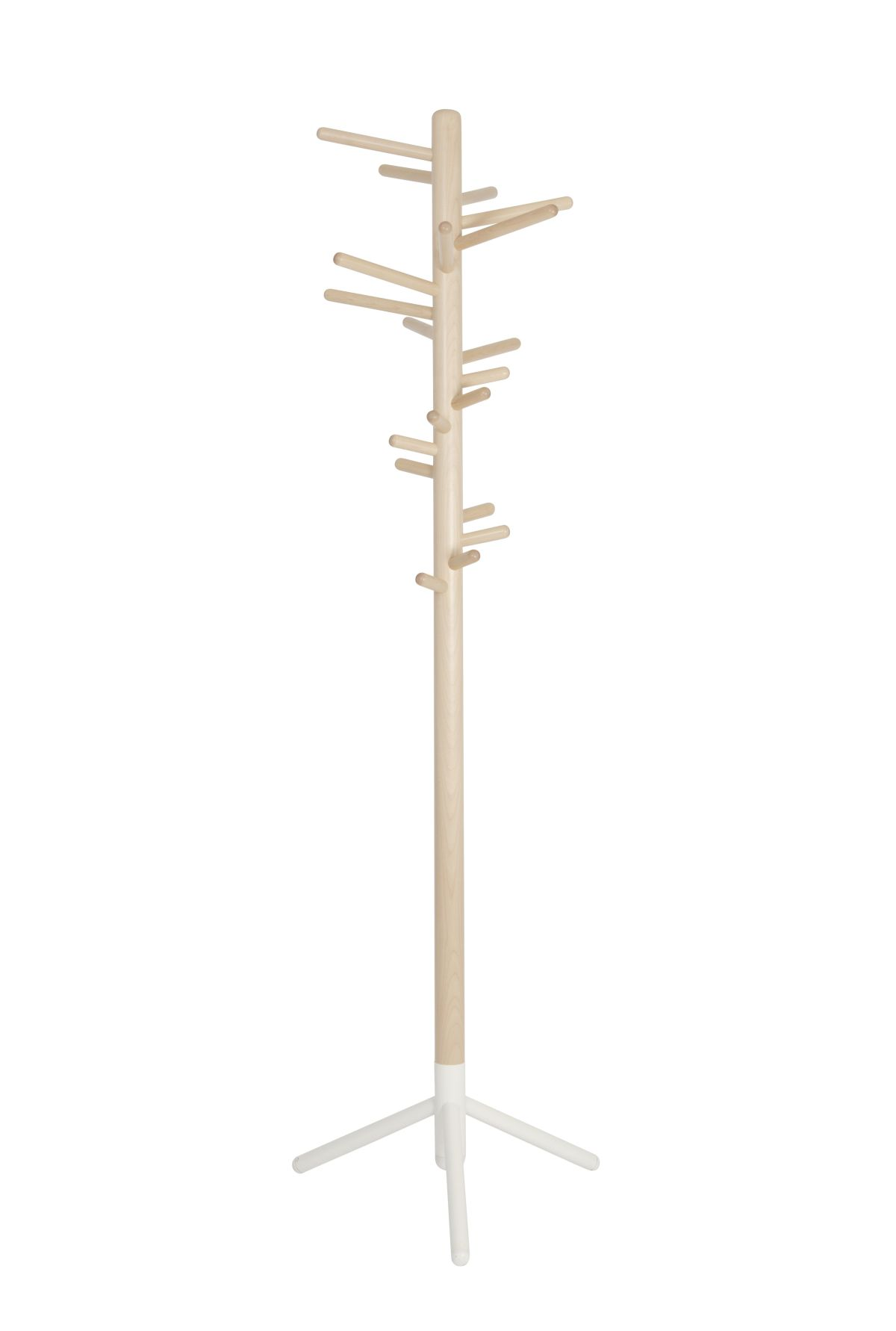 Clothes tree 160 clear lacquer white foot
