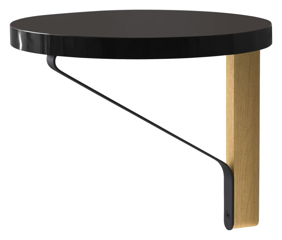 Kaari Wall Shelf round REB007 clear varnish_black linoleum