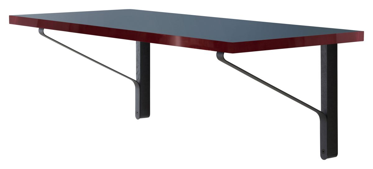 Kaari Wall Console REB006 black oak blue Linoleum red edge