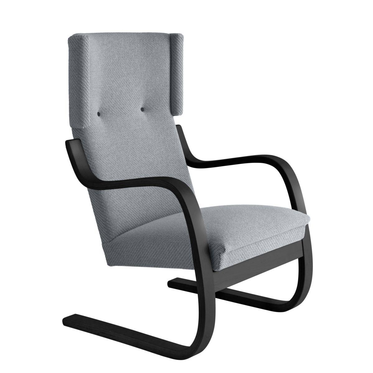 Armchair 401 Birch Black Laquer Sea Fabric Upholstery Artek Grey 2494501