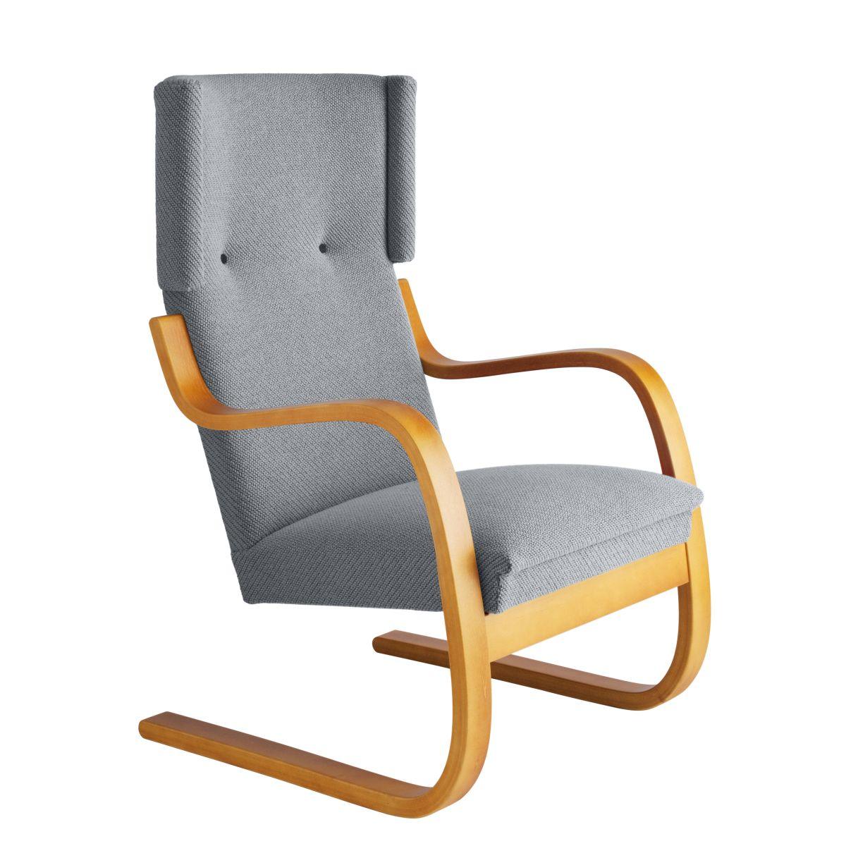 Armchair 401 Honey Stain Seat Fabric Upholstery Artek Grey 2494503