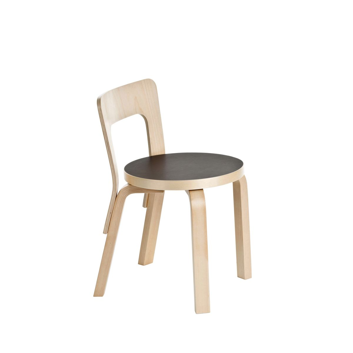 Childrens Chair N65 Legs Birch Seat Black Linoleum 2463533