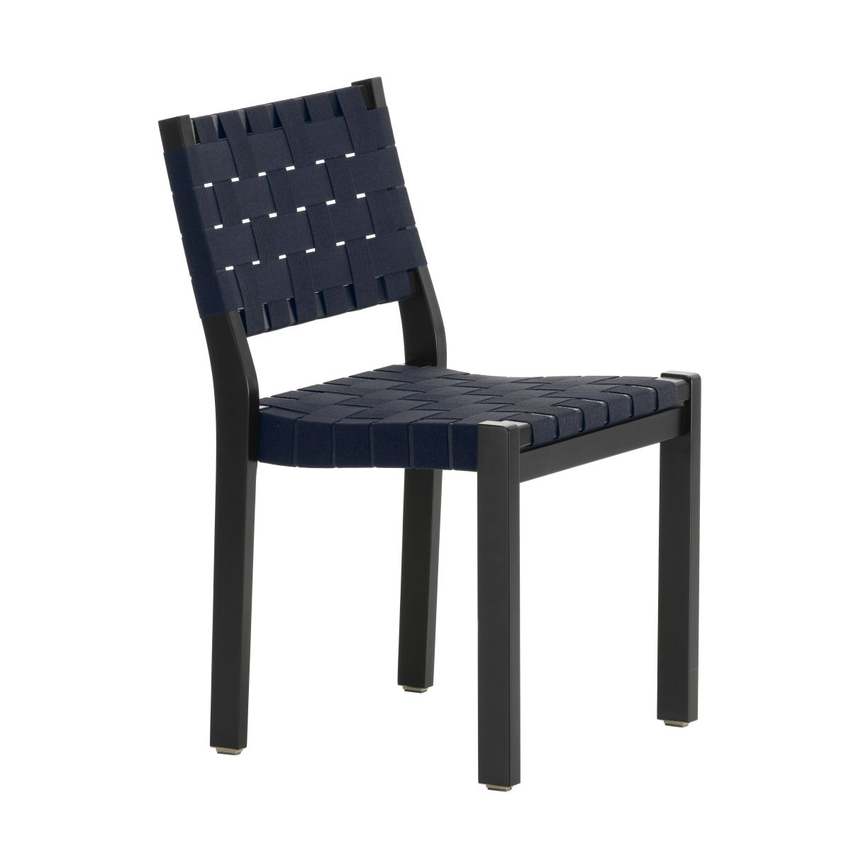 Chair 611 Black Lacquered Birch Black Blue New Webbing F 2436765
