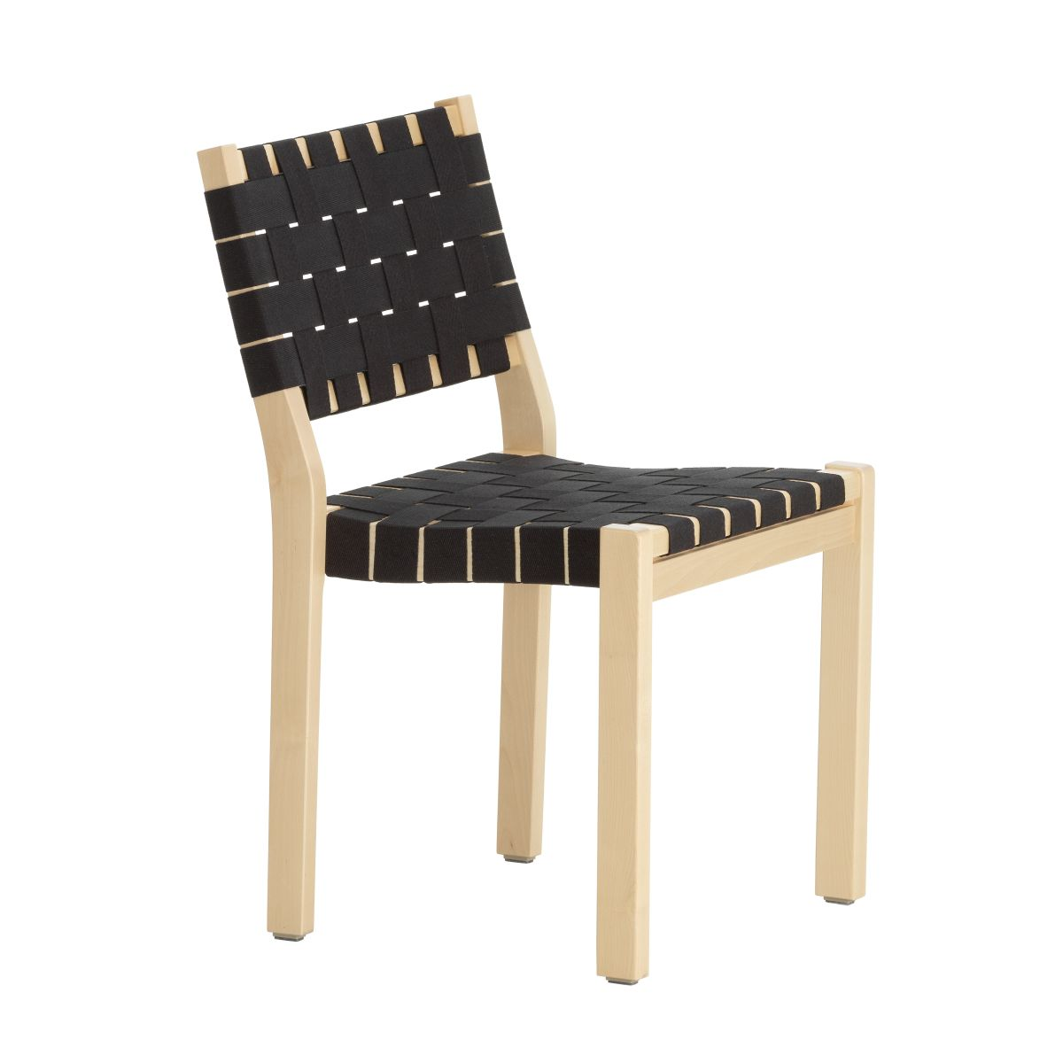 Chair 611 Clear Lacquered Birch Black New Webbing F 2436714