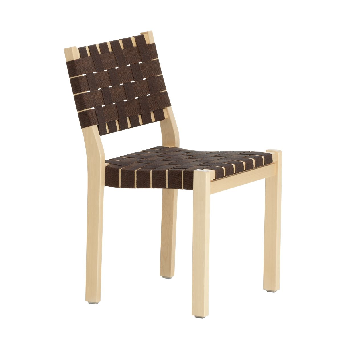 Chair 611 Clear Lacquered Birch Black Brown New Webbing F 2436634