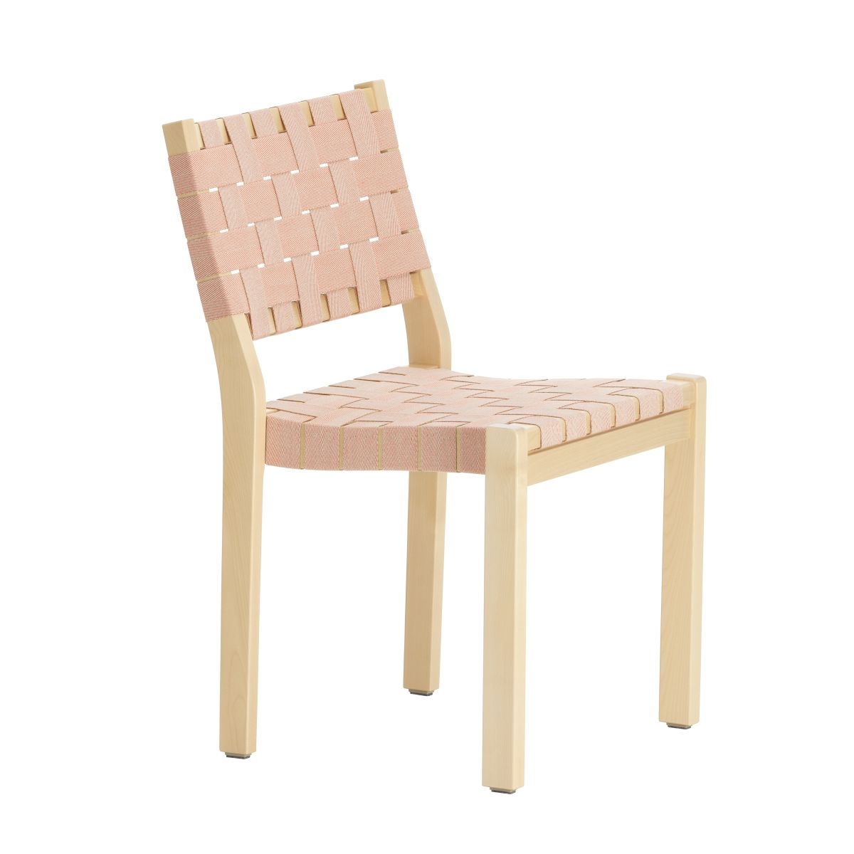 Chair 611, clear lacquered birch,natural/red new webbing_F