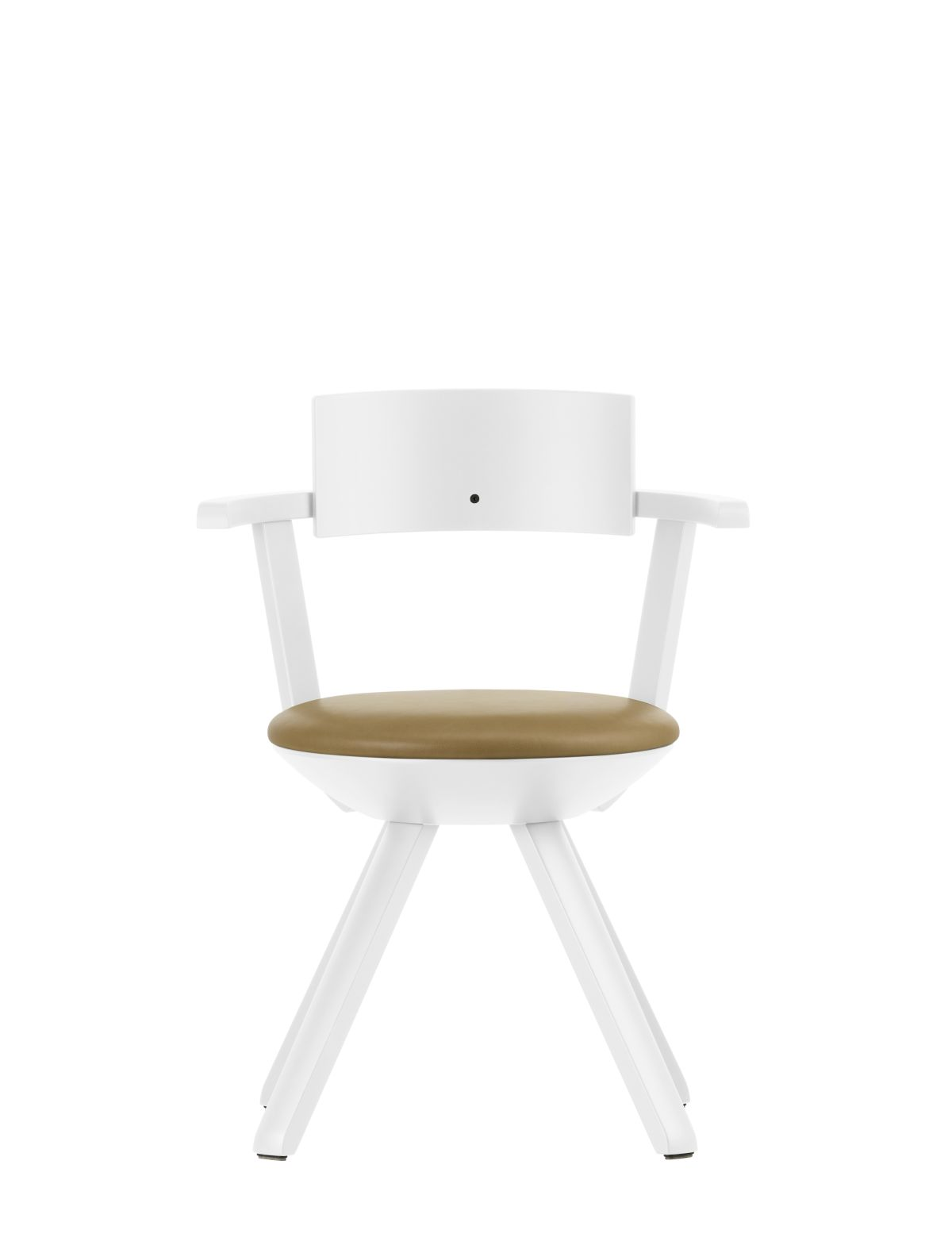 Rival Chair KG002 Legs and backrest white lacquered seat upholstery leather Natural caramel
