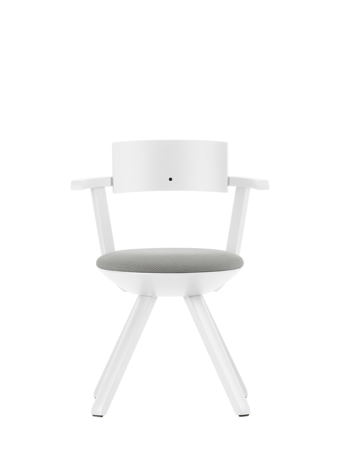 Rival Chair KG002 white lacquer light grey / cream 3d knit upholstery