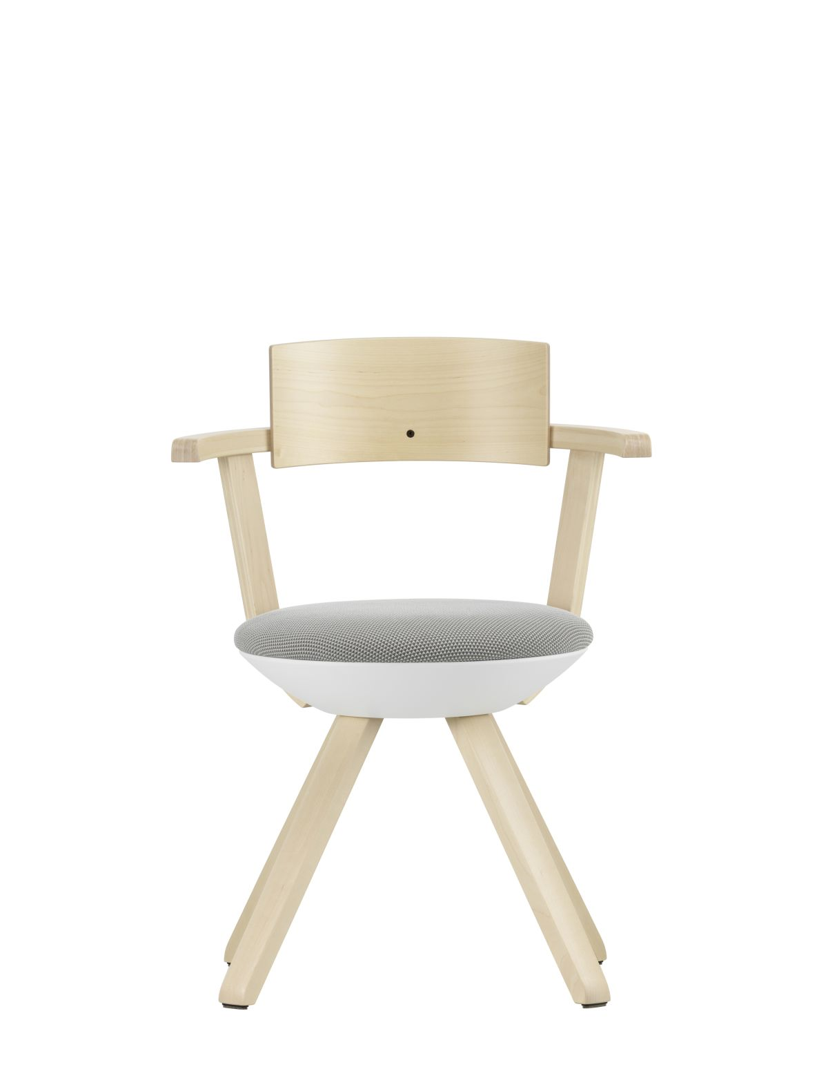 Rival Chair KG002 Legs and backrest natural lacquered seat upholstery 3D-knit light grey cream