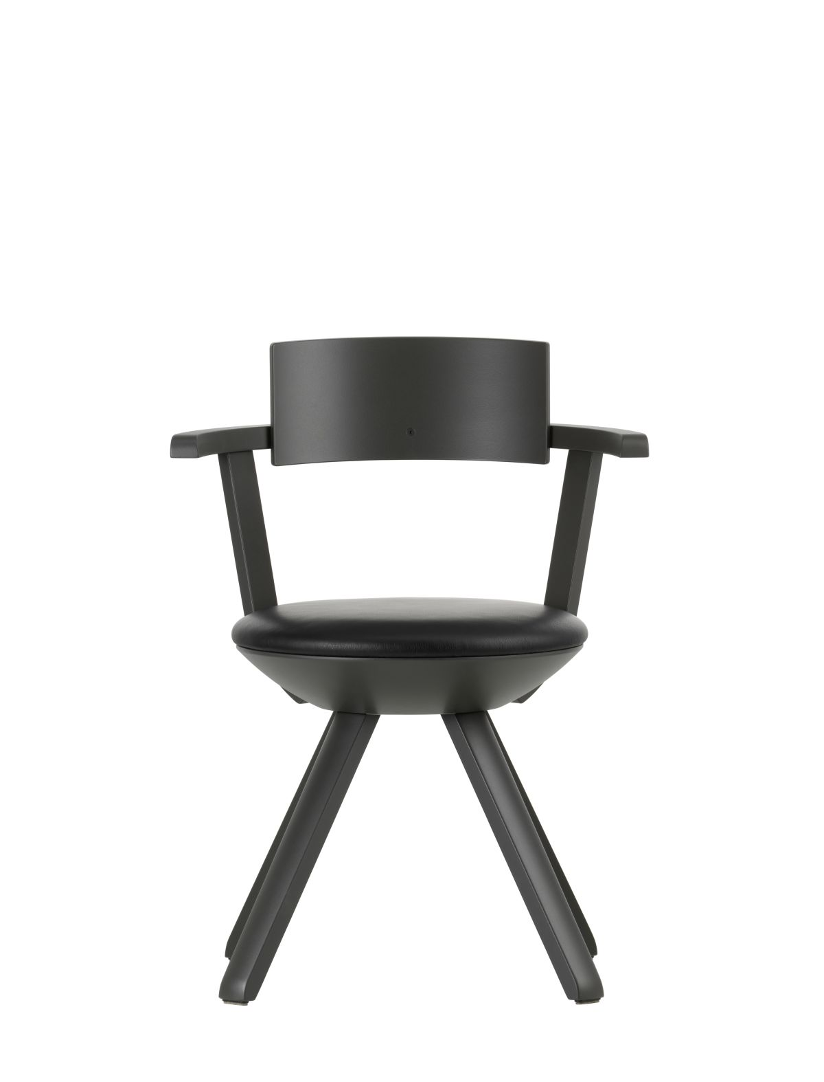 Rival Chair KG002 Legs and backrest asphalt lacquered seat upholstery leather Premium nero