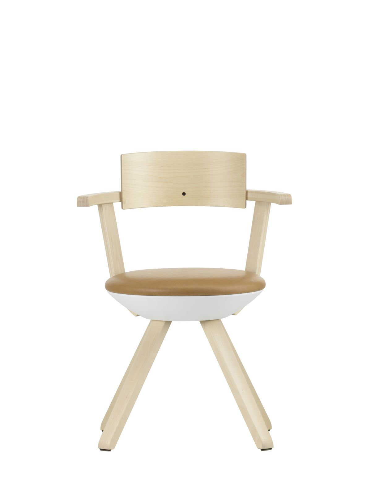Rival Chair KG002 Legs and backrest natural lacquered seat upholstery leather Natural caramel