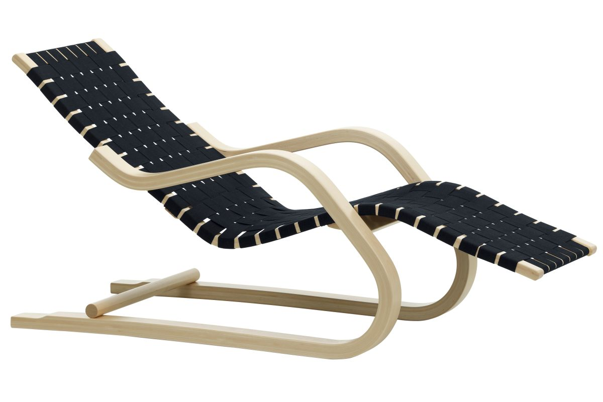 Lounge Chair 43 natural, black/blue webbing_F