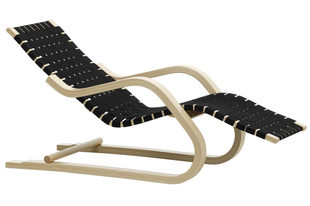 Lounge Chair 43 natural, black/black webbing_F