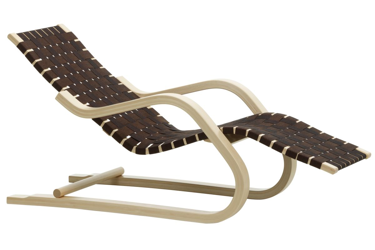 Lounge Chair 43 natural, black/brown webbing_F
