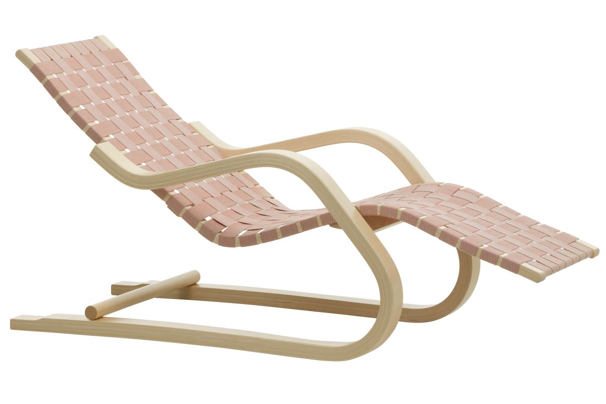 Lounge Chair 43 natural, natural/red webbing_F