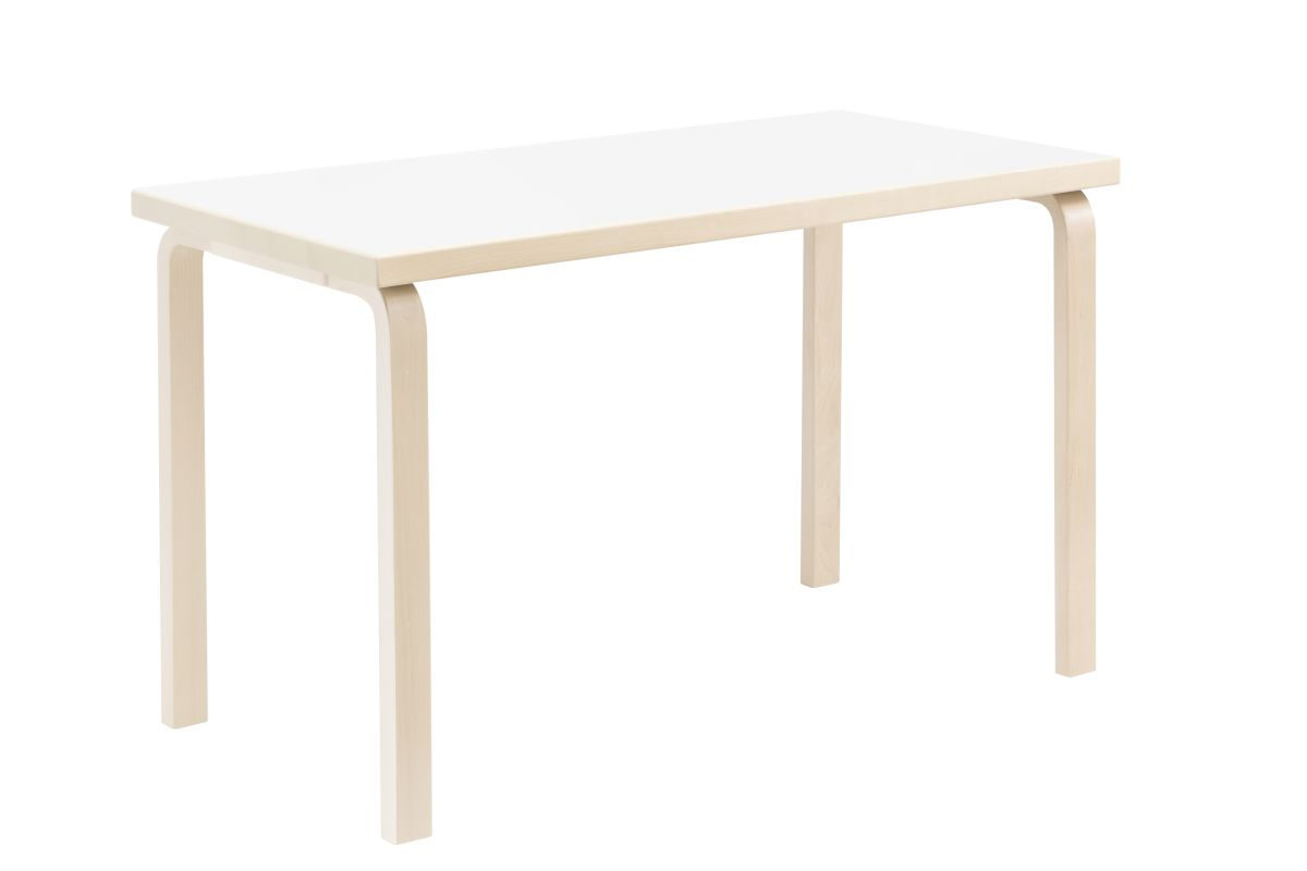 Aalto Table rectangular 80A legs and edge band birch top white HPL