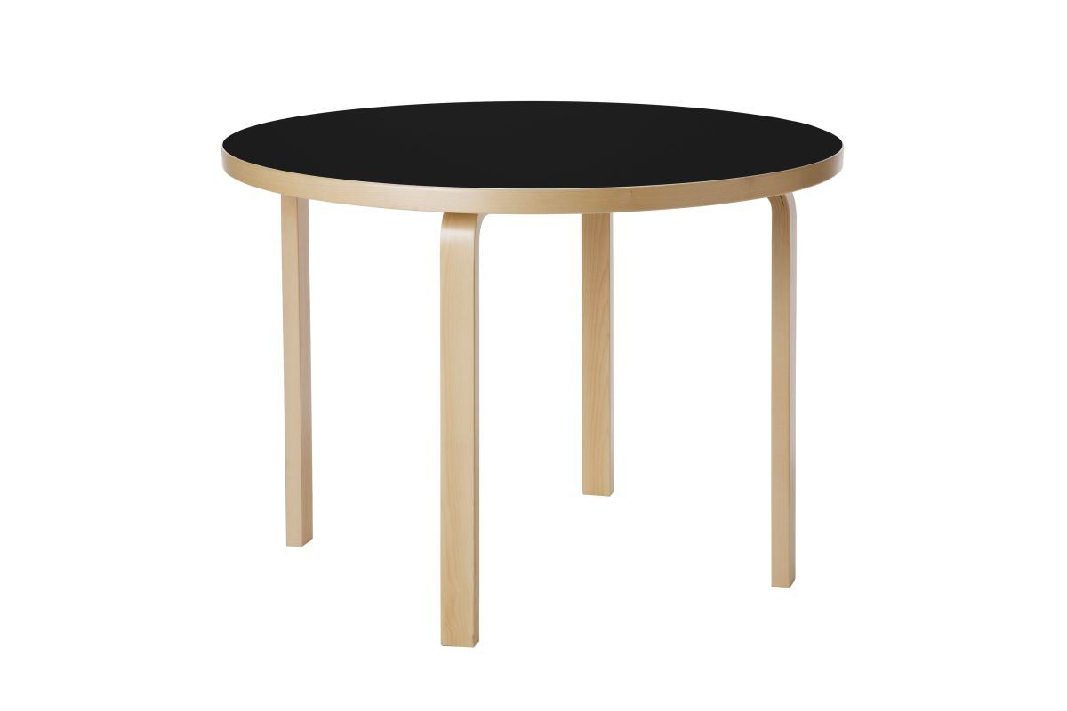 Aalto Table round 90A black linoleum_WEB