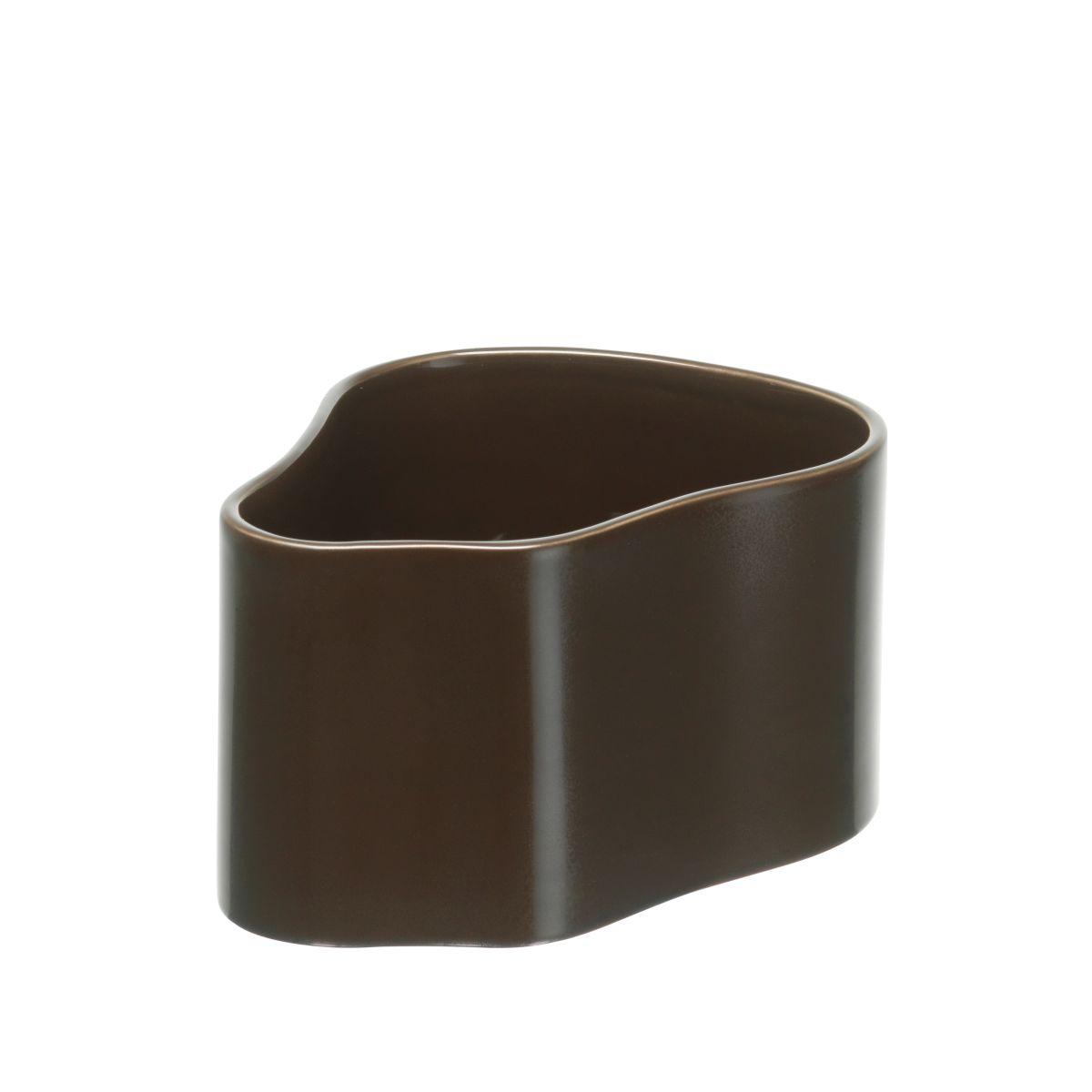 Plant pot shape A, size S, Dark brown gloss_F
