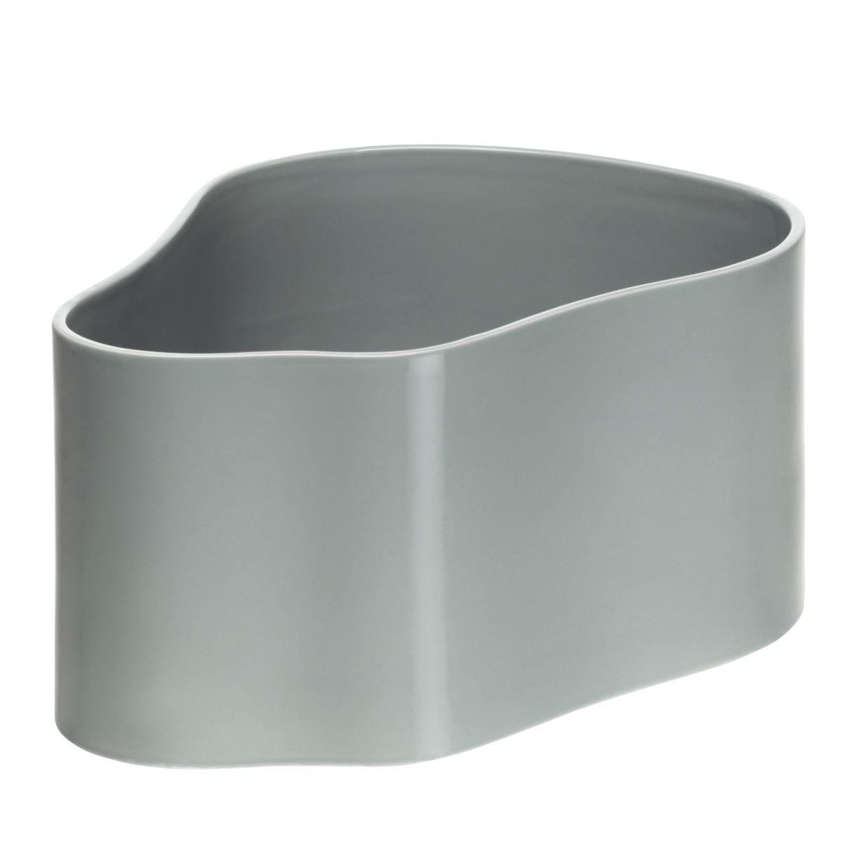 Plant pot shape A, size L, Light grey gloss_F