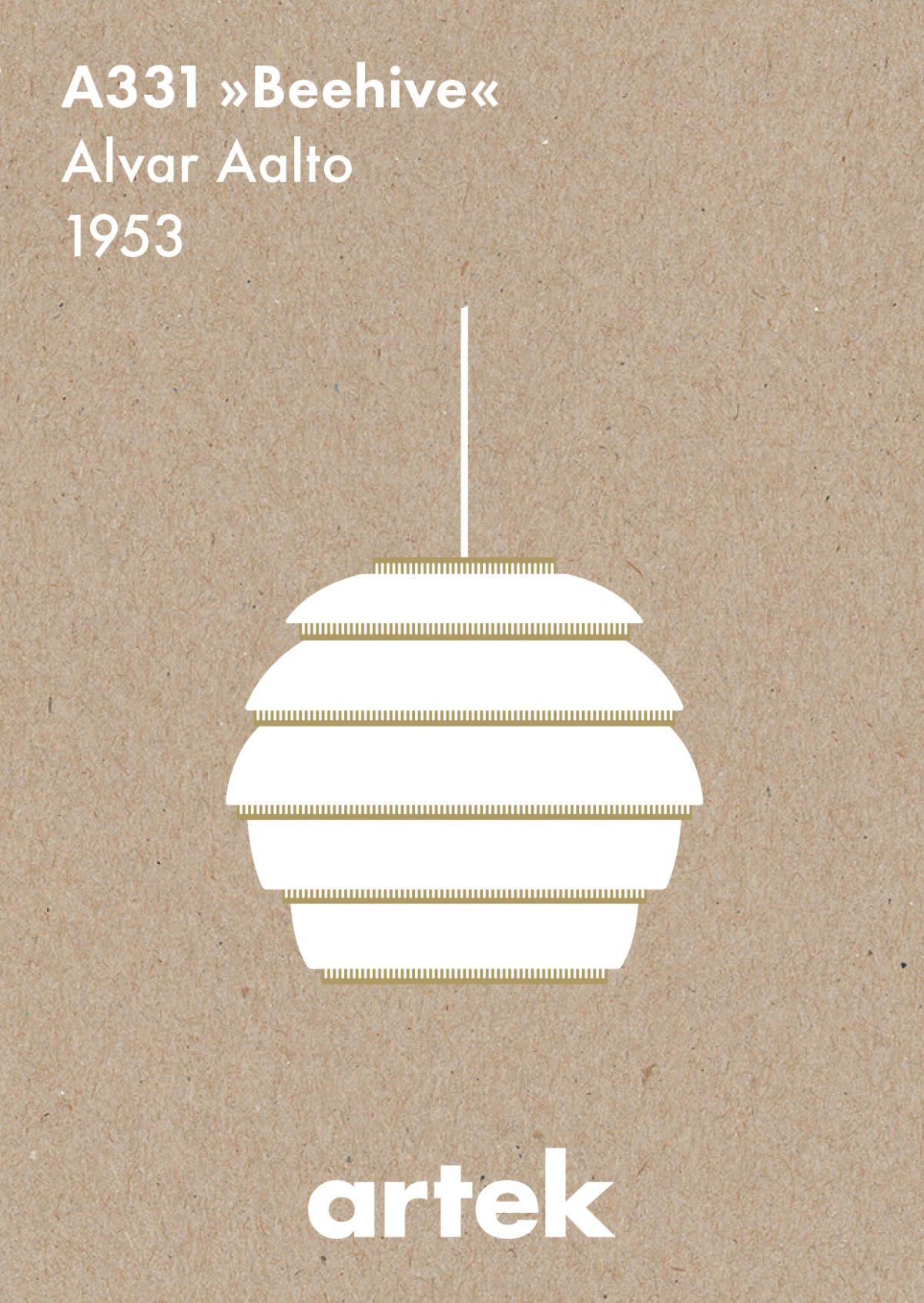 "Artek Icons, Greige Pendant Light A331 ""Beehive"""