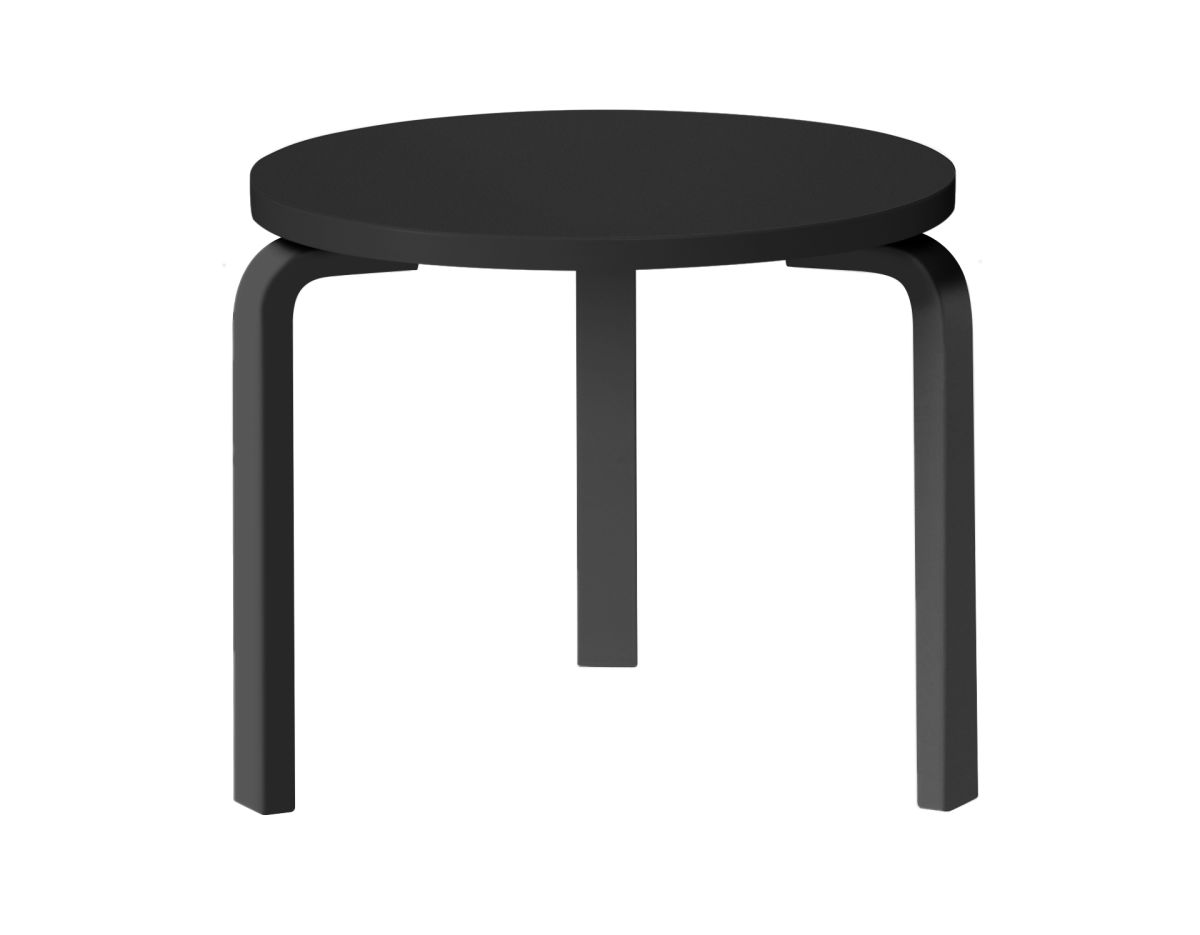 Table 90D_legs black laquered_top black linoleum