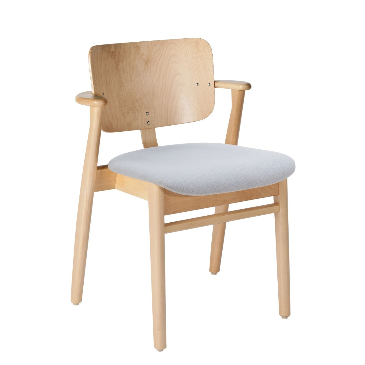 Domus Chair clear laquered birch_seat fabric grey