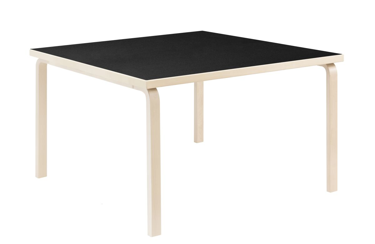 Aalto Table square 84 legs and edge band birch top black linoleum