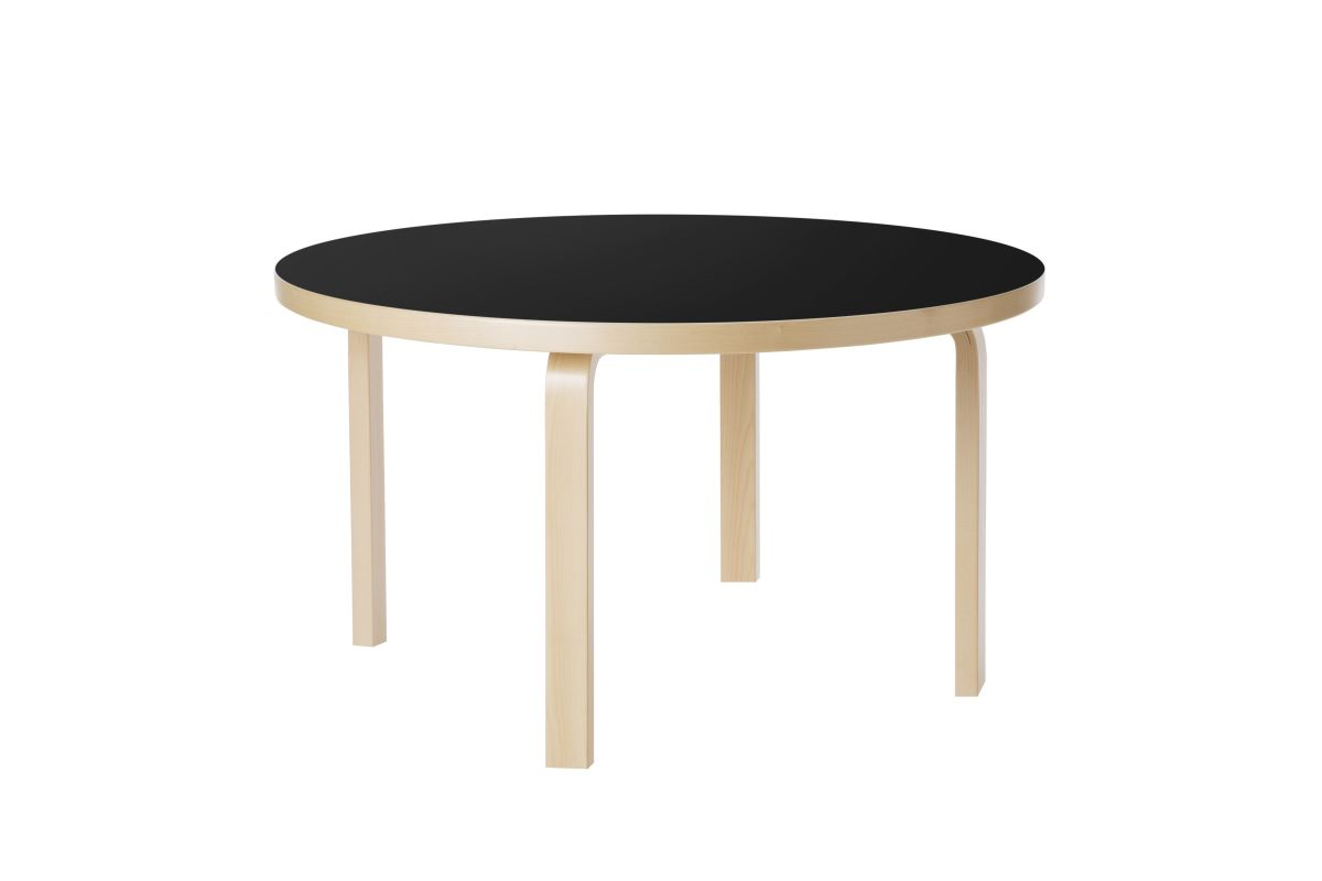 Aalto Children's Table round 90A legs and edge band birch top black linoleum