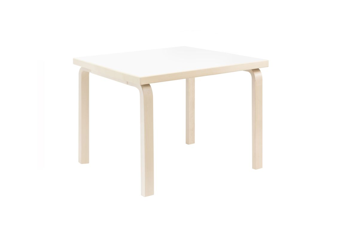 Aalto Children's Table square 81C legs and edge band birch top white HPL