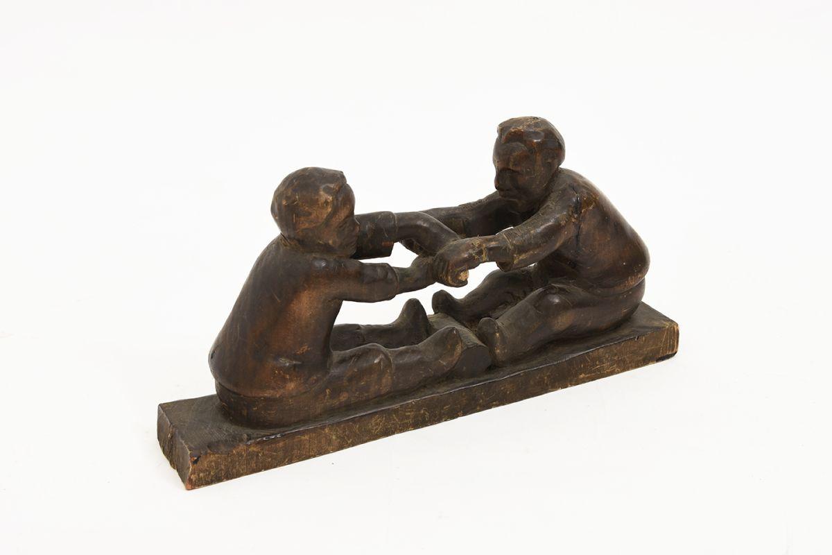 Anonymous-Wooden-Sculpture-Two-Men_detail1