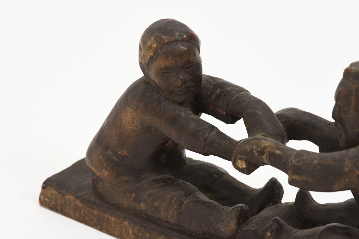 Anonymous-Wooden-Sculpture-Two-Men_detail2