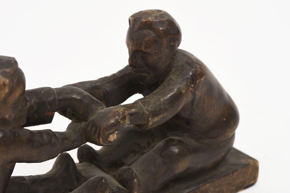 Anonymous-Wooden-Sculpture-Two-Men_detail3