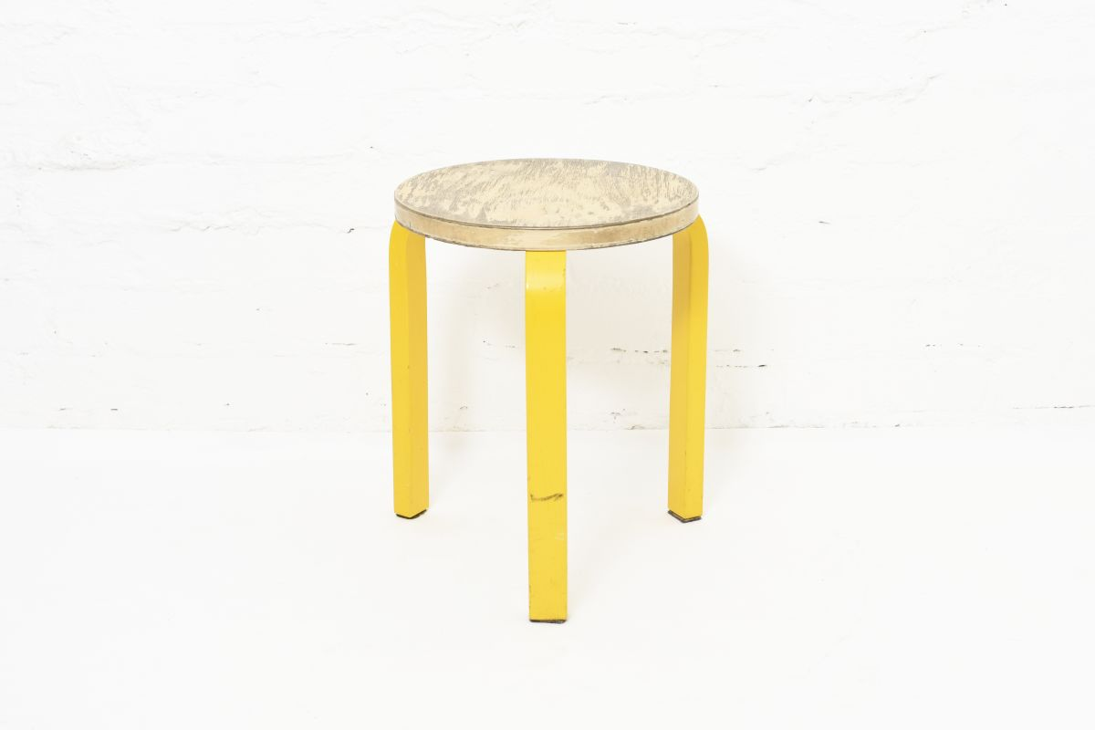 Aalto-Alvar-Stool60-Painted-Leg-Yellow