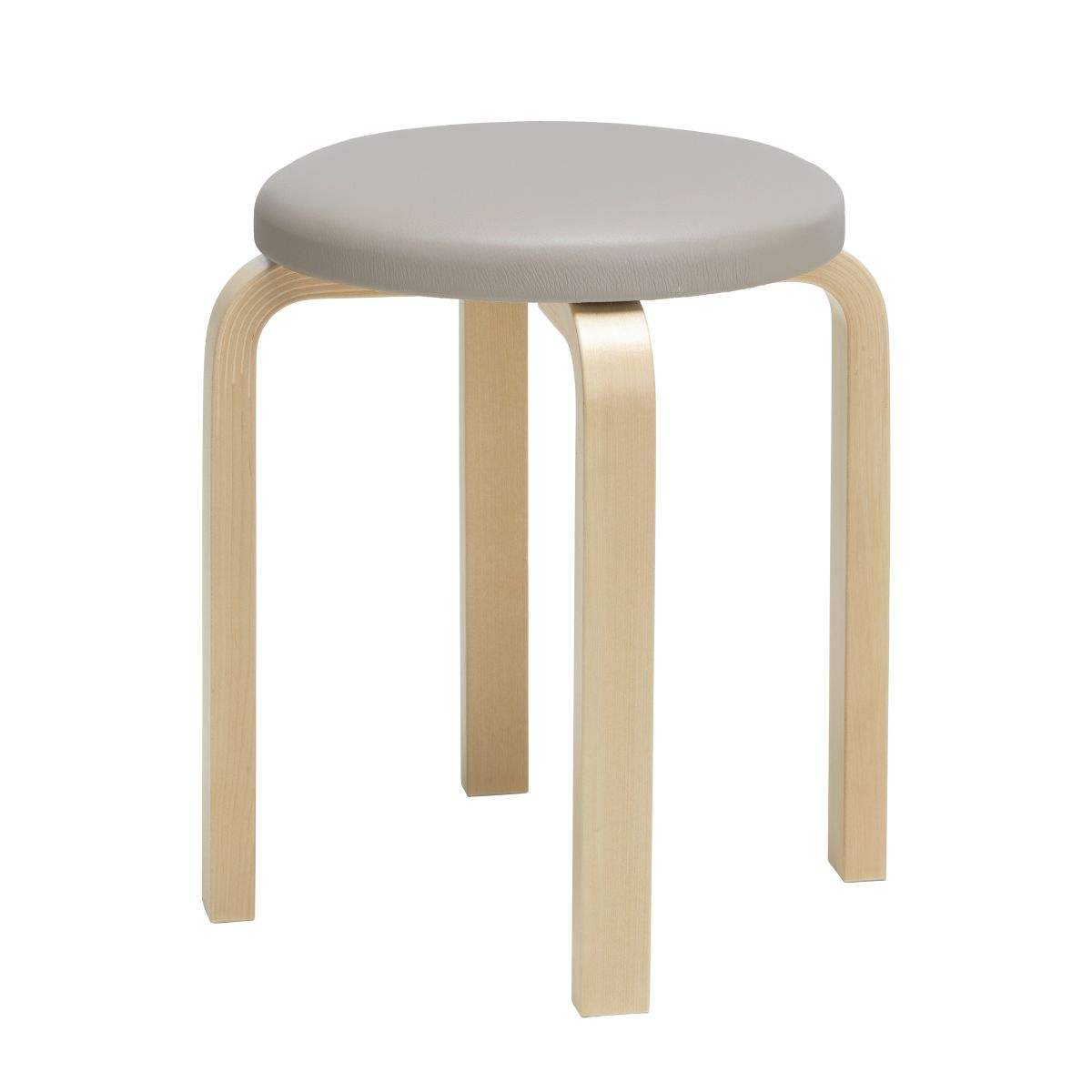 Stool E60 legs birch, top leather upholstery_F