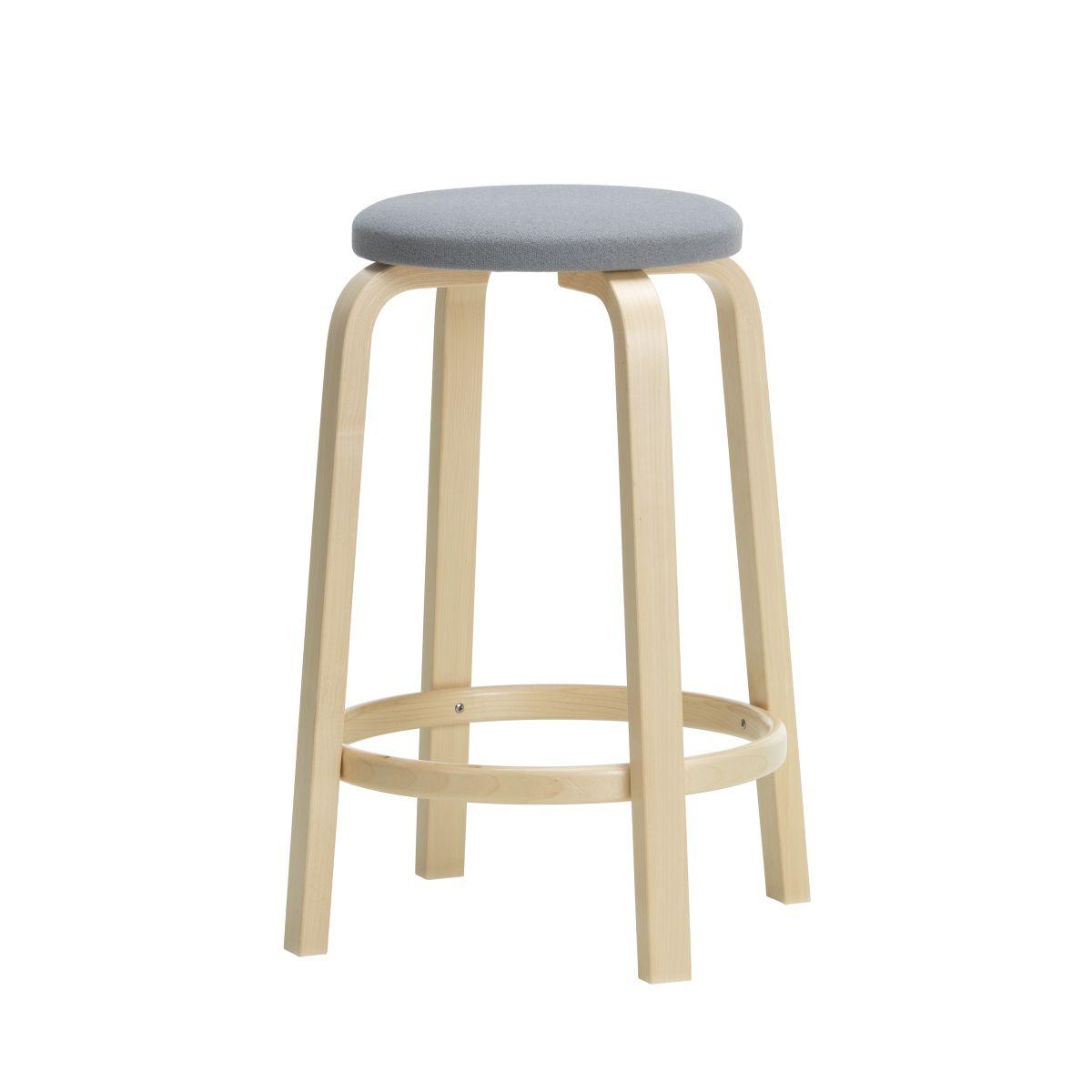 Bar Stool 64 65cm natural/ upholstery Kvadrat Tonus 216_F