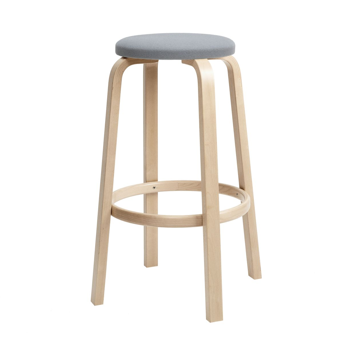 Bar Stool 64 75cm clear lacquered seat fabric upholstery_F