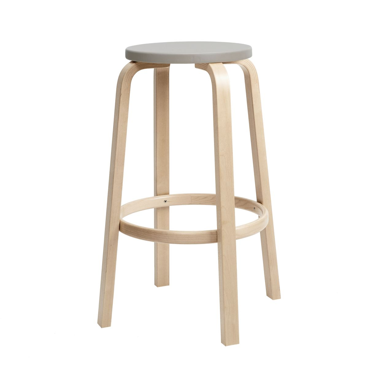 Bar Stool 64 75cm clear lacquered seat leather upholstery_F