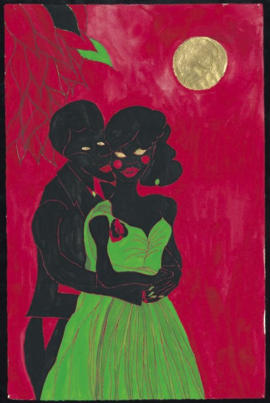 <div class=&#34;title_year&#34;>Afro Lunar Lovers, 2003</div><div class=&#34;medium_dimensions&#34;>Giclée, embossed on paper, gold leaf hand applied by the artist. Gouache & felt tip digitally merged, 49 x 32 cm