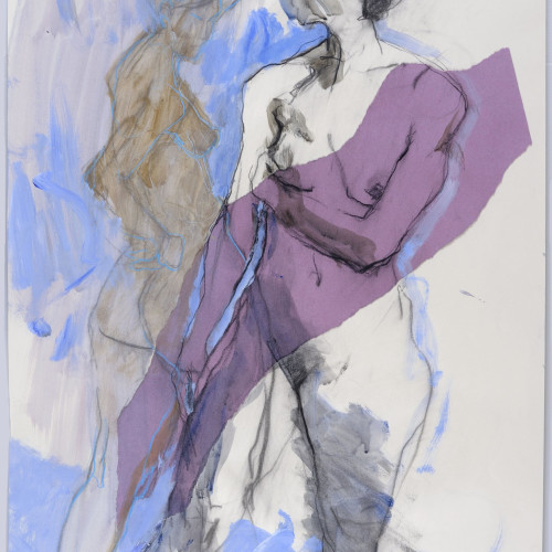 Nicky Basford - Standing Nudes, Blue and Purple (Unframed)