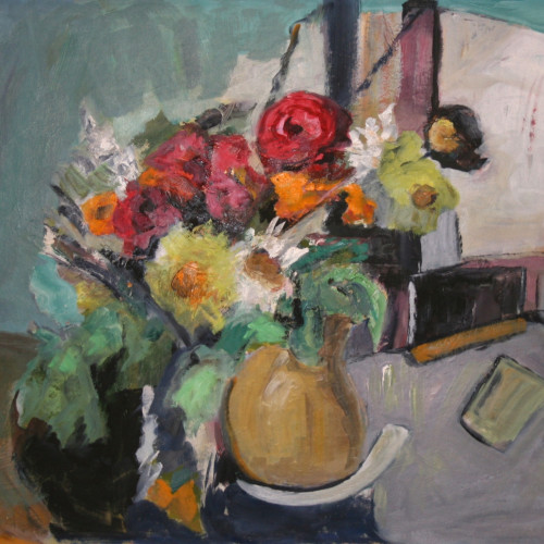 Philippa Bradstock - Flowers in a Yellow Jug