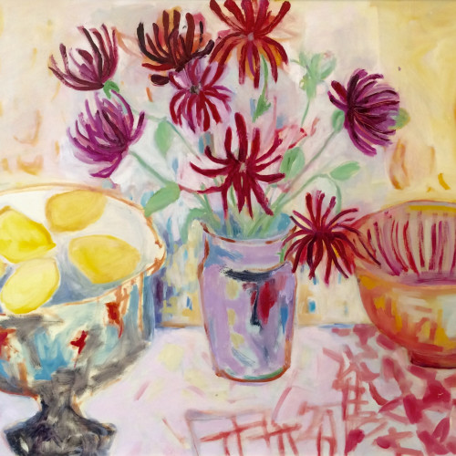 Belinda Rayner - Dahlias with Lemons